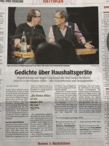 """Pressebericht über unsere Premiere in der Galerie """"Kleine Affäre"""" in Hattingen"""